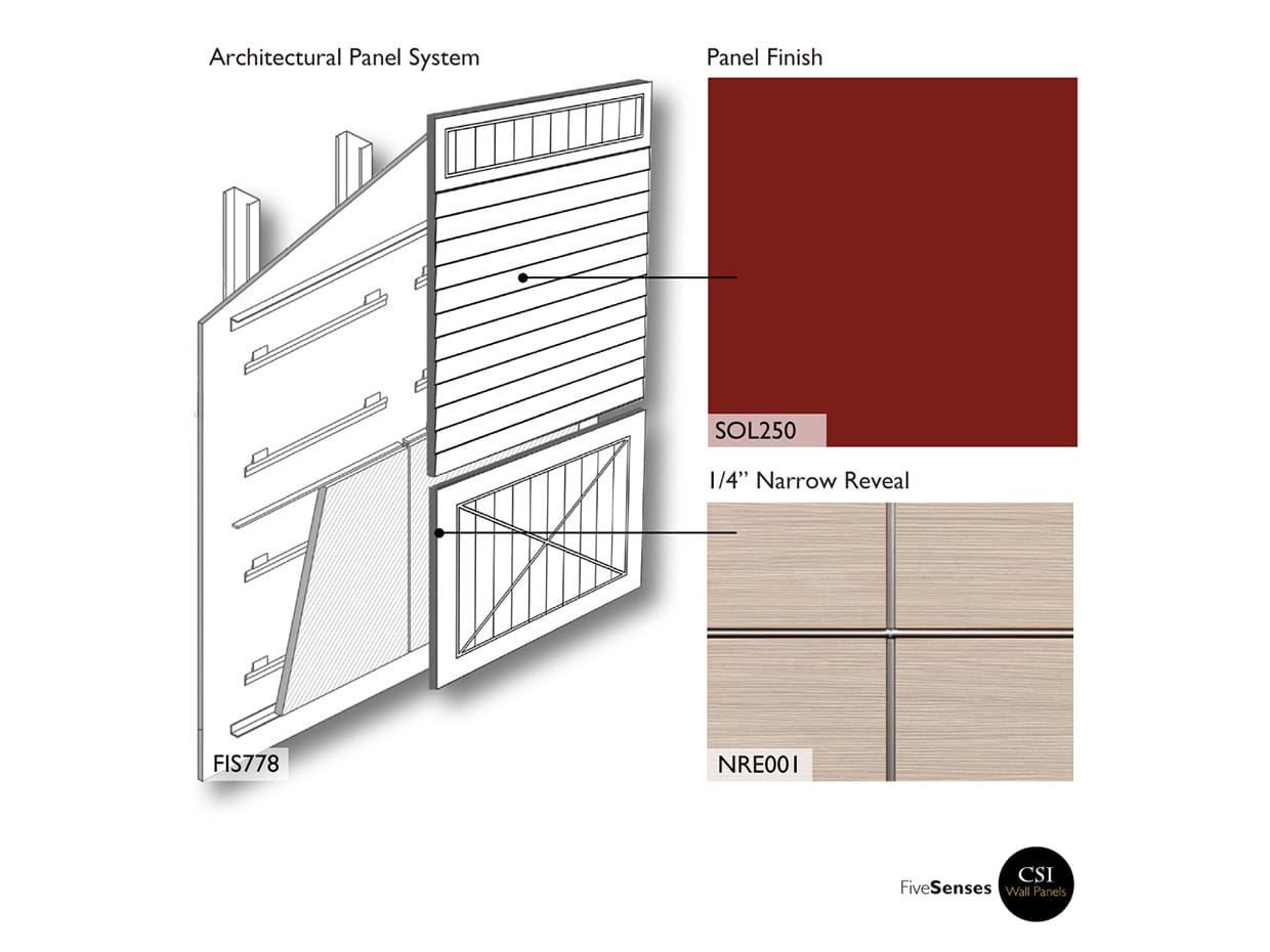 Burgundy Red Wood Facade Panels