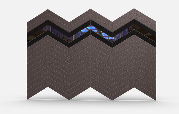 Planar 2706 Chevrons Material Mirror Elevation Csiwallpanels